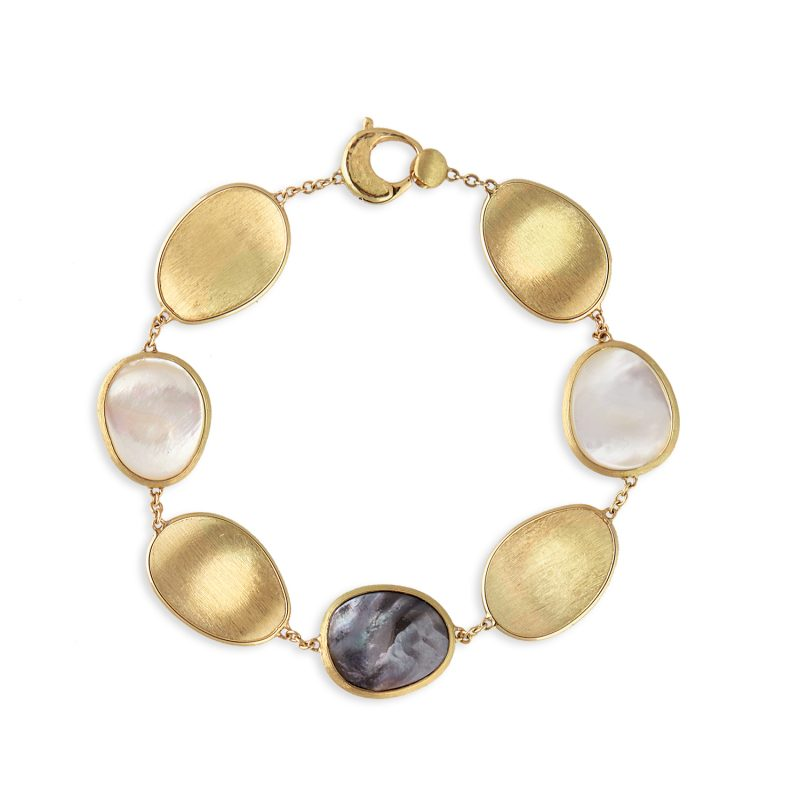marco bicego lunaria mixed mother of pearl and yellow gold bracelet