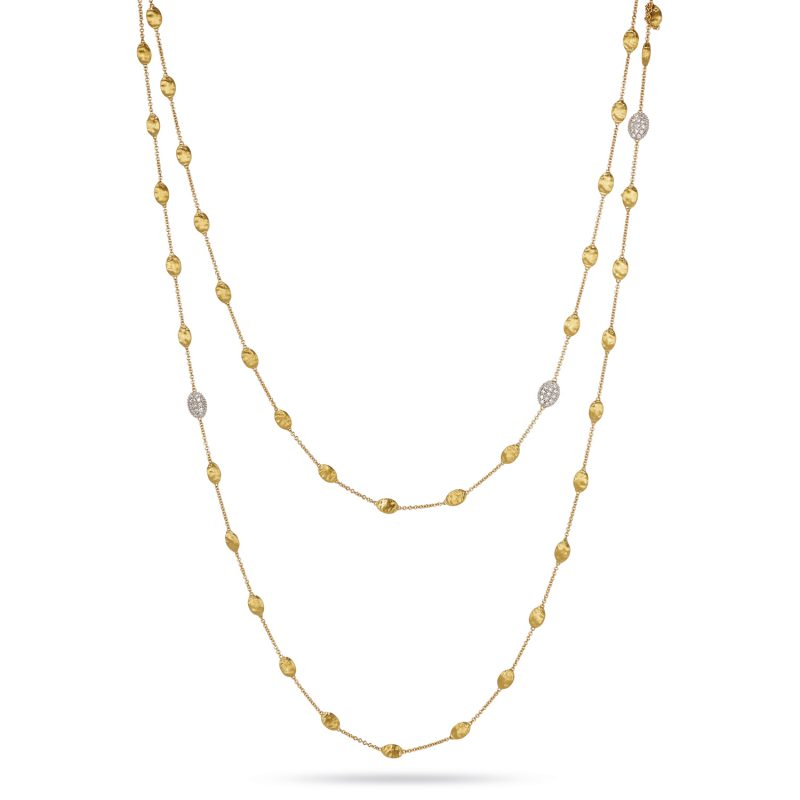 marco bicego siviglia yellow gold and pave' diamond link necklace
