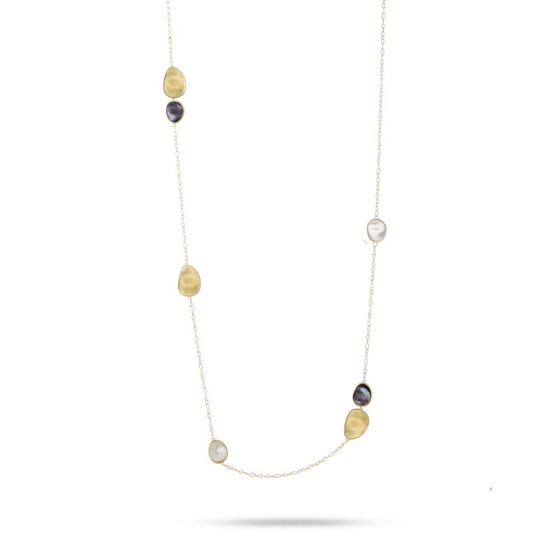 marco bicego lunaria mixed mother of pearl and yellow gold long necklace