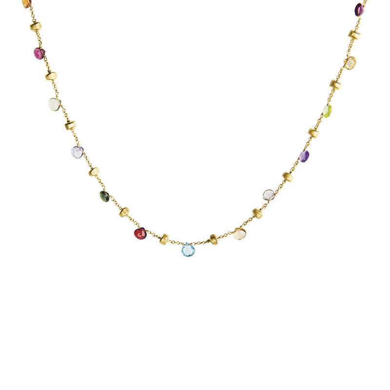 marco bicego paradise mixed precious gem and yellow gold necklace