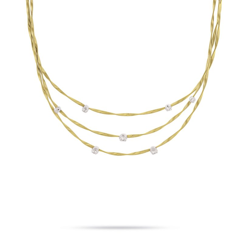marco bicego marrakech yellow gold and diamond three row necklace