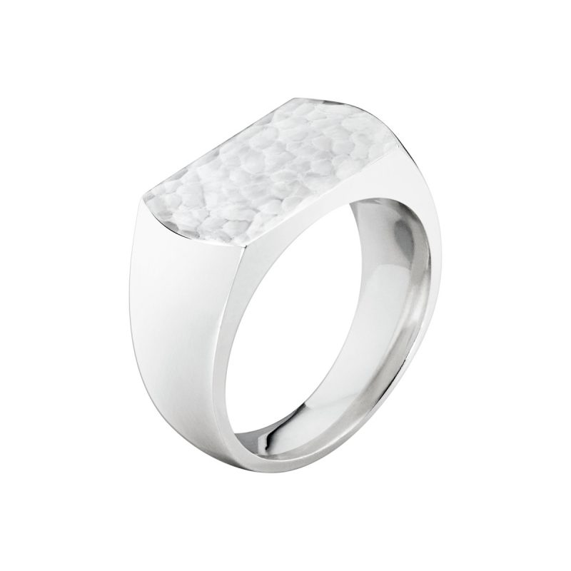 georg jensen smithy silver hammered top gents ring