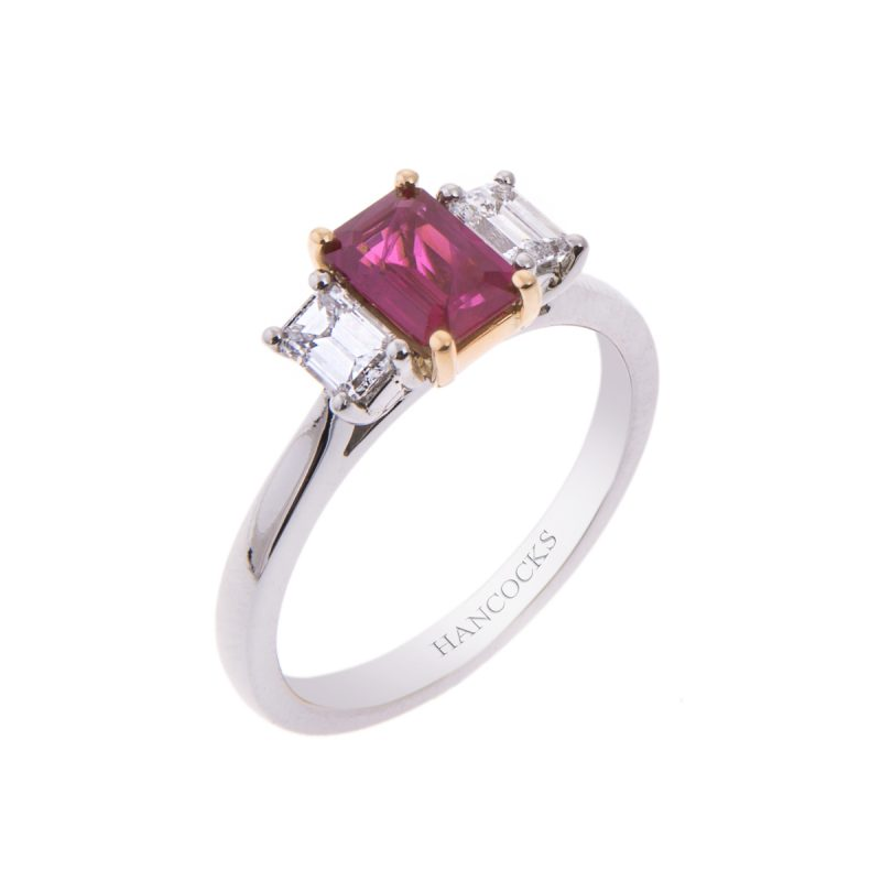 platinum and 18ct gold ruby and diamond 3-stone ring
