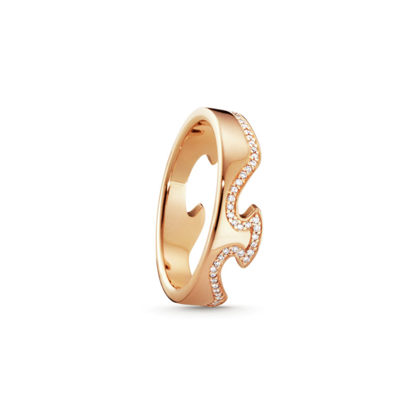georg jensen 18 carat rose gold fusion ring with line of diamonds