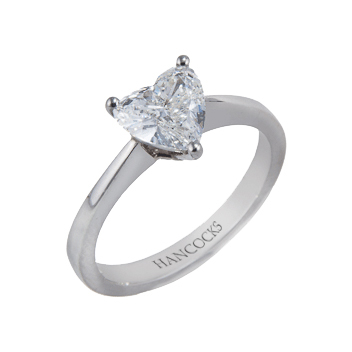 Diamond Heart Shaped Ring in platinum