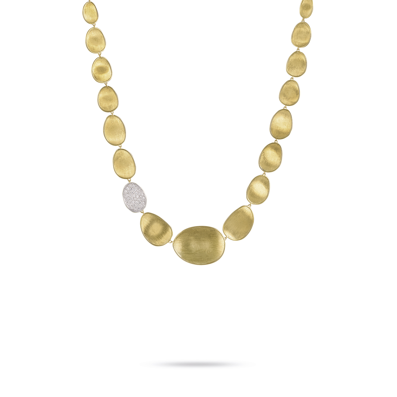 marco bicego lunaria yellow gold and pave' diamond necklace