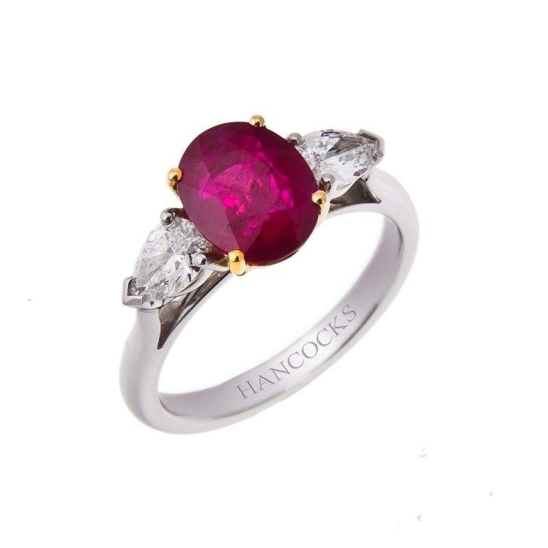 ruby and diamond trilogy ring set in platinum