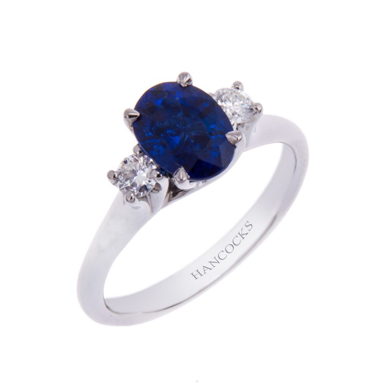 sapphire and diamond oval 3-stone ring in platinum
