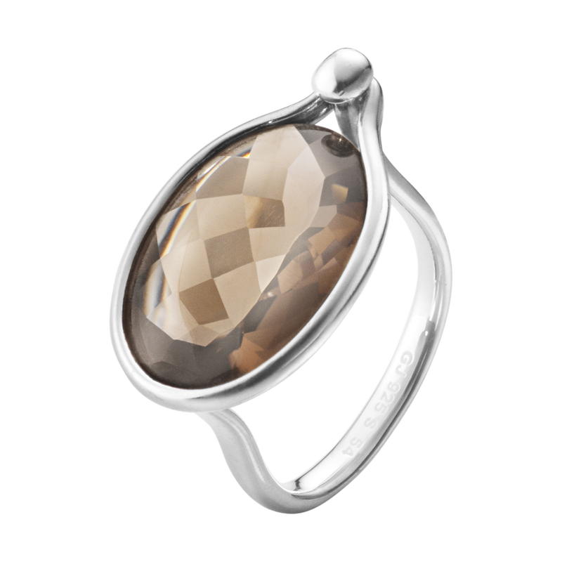 georg jensen smokey quartz and silver ring