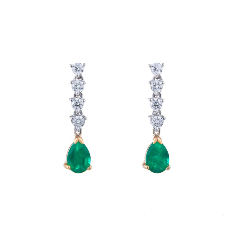 18ct white gold pear cut emerald and brilliant cut diamond-drop earrings