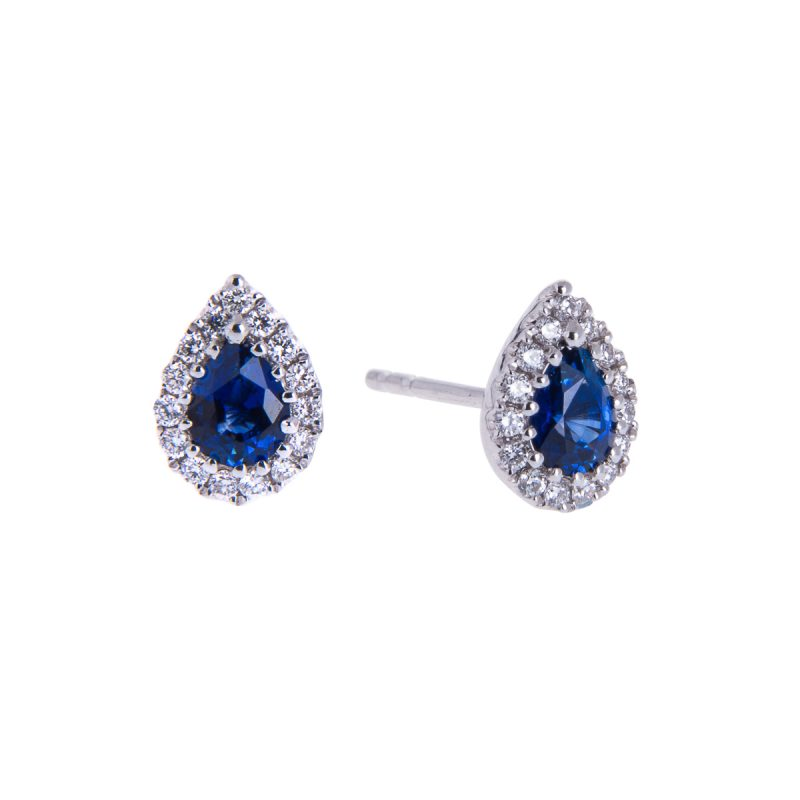 18ct white gold sapphire and diamond cluster stud earrings in 18ct white gold