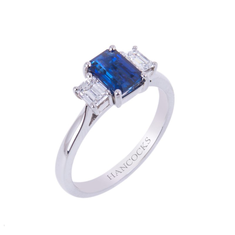sapphire and diamond 3-stone claw set engagement ring
