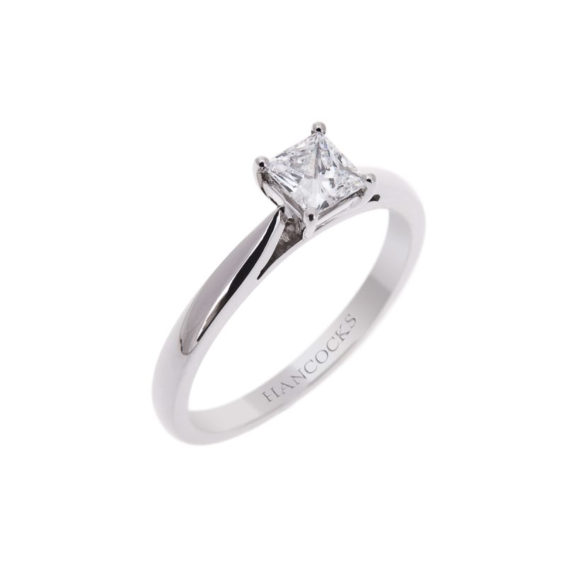 certificated d colour princess cut diamond single stone engagement ring