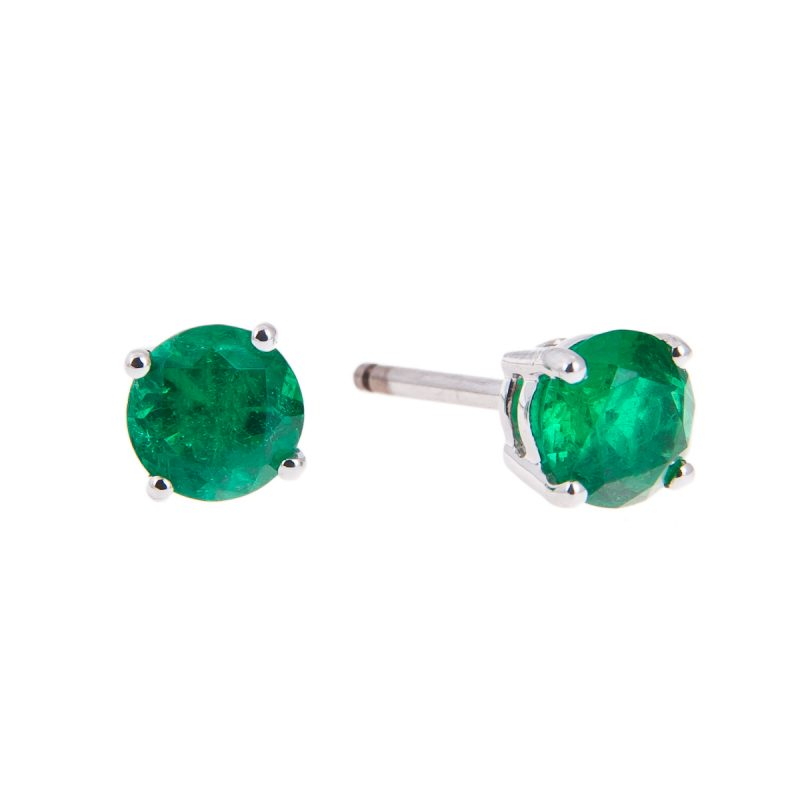 18ct white gold round cut emerald stud earrings