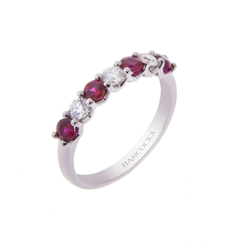 platinum 4-claw ruby and diamond seven stone half eternity ring