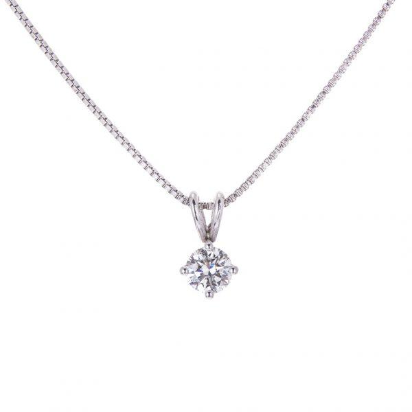 Platinum Diamond Single Stone Pendant