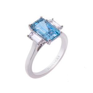 18ct Gold Aquamarine And Diamond 3 Ston Ring HA 5 002 2 300x300