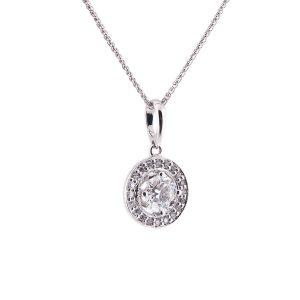 brilliant cut diamond single stone pendant with halo surround