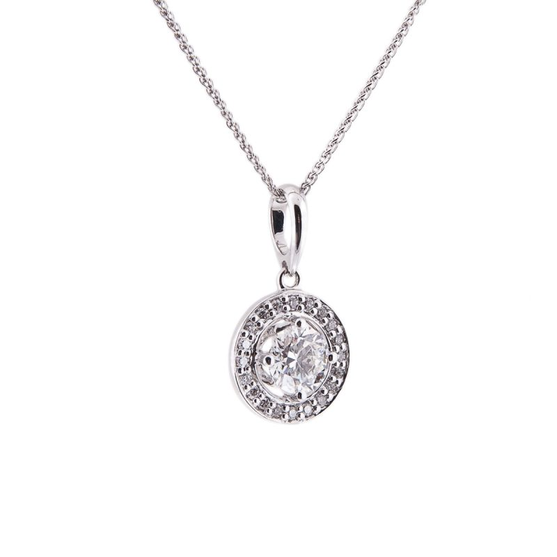 brilliant cut diamond single stone pendant with halo surround