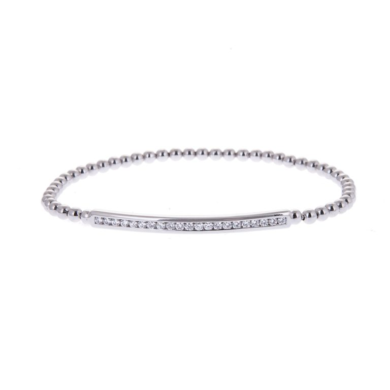 18ct white gold expandable diamond set bracelet H261118 1