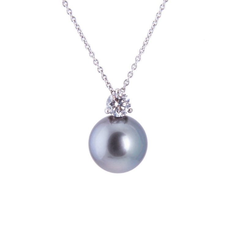 grey Tahitian pearl and diamond pendant with 18ct white gold chain