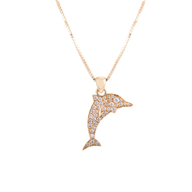 diamond set dolphin pendant and chain
