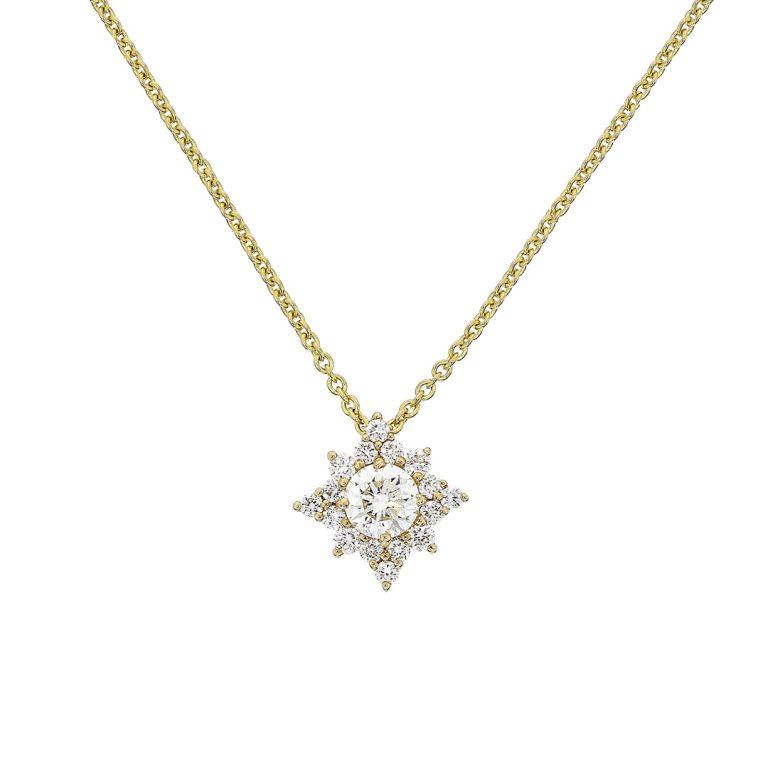 19292 18ct yellow gold diamond star pendant