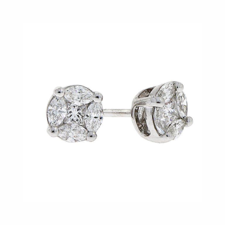 19741 multi stone diamond stud earrings 2