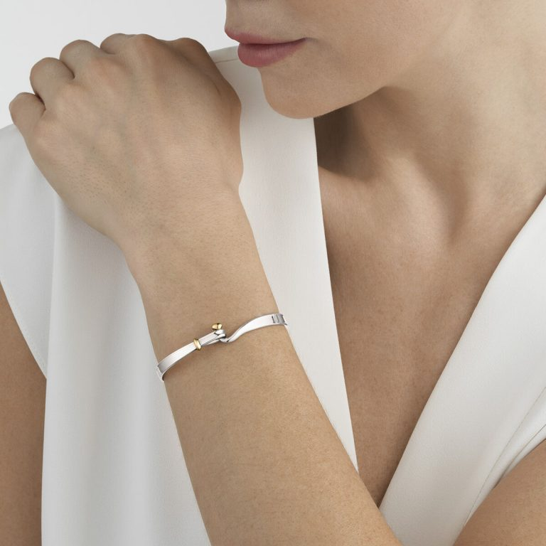 Georg Jensen Torun silver bangle with gold accent
