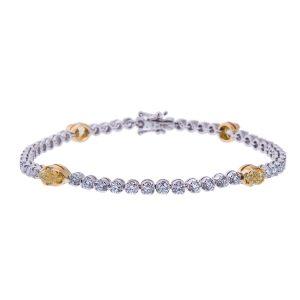 Natural Fancy Yellow Diamond Set Tennis Style Bracelet HVI 41 3 300x300
