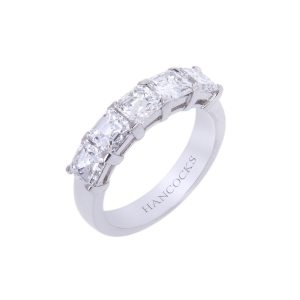 Asscher Cut Diamond 5 Stone Half Eternity Ring HA 21 300x300