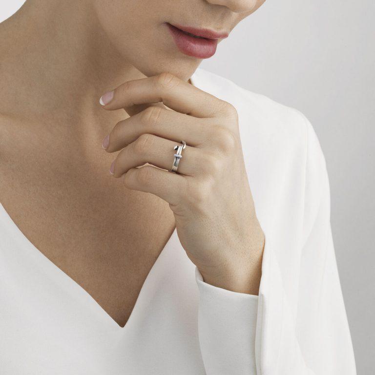 Georg Jensen Torun silver and pave' diamond ring