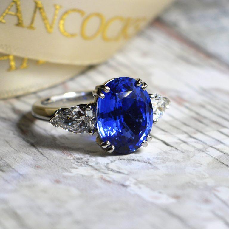 sapphire-and-pear-cut-diamond-ring