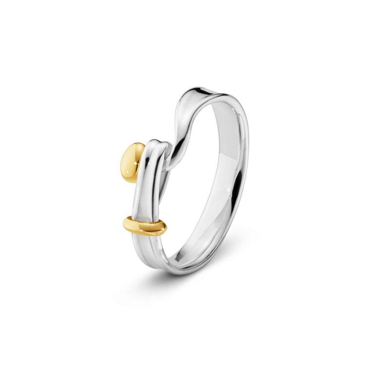 Georg Jensen Torun silver and yellow gold ring