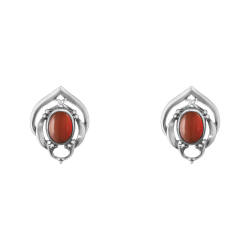 2016 HERITAGE earclips oxidised sterling silver and carnelian