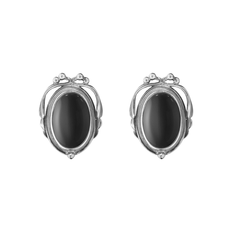 2017 heritage earclips oxidised sterling silver with black onyx