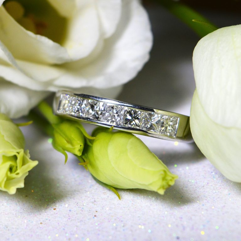 Channel Set Princess Cut Diamond 7 Stone Ring