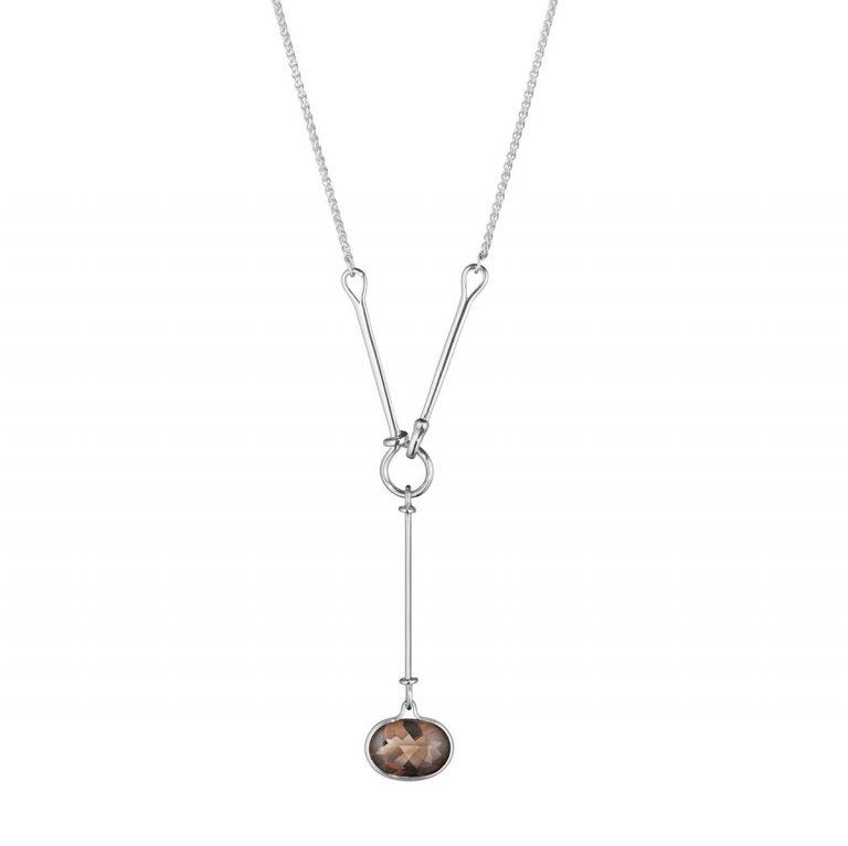 Georg Jensen Savannah smoky quartz drop pendant