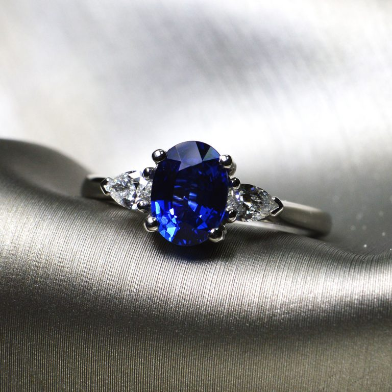 Sapphire Platinum Engagement Ring with Pear Cuts
