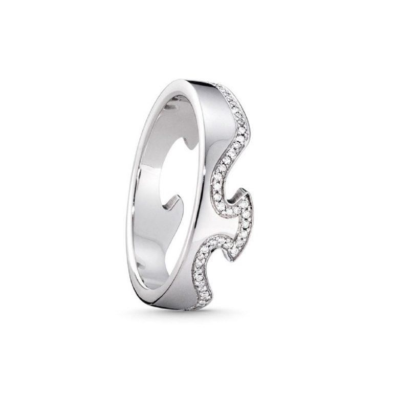 Fusion 18 carat white gold diamond line ring