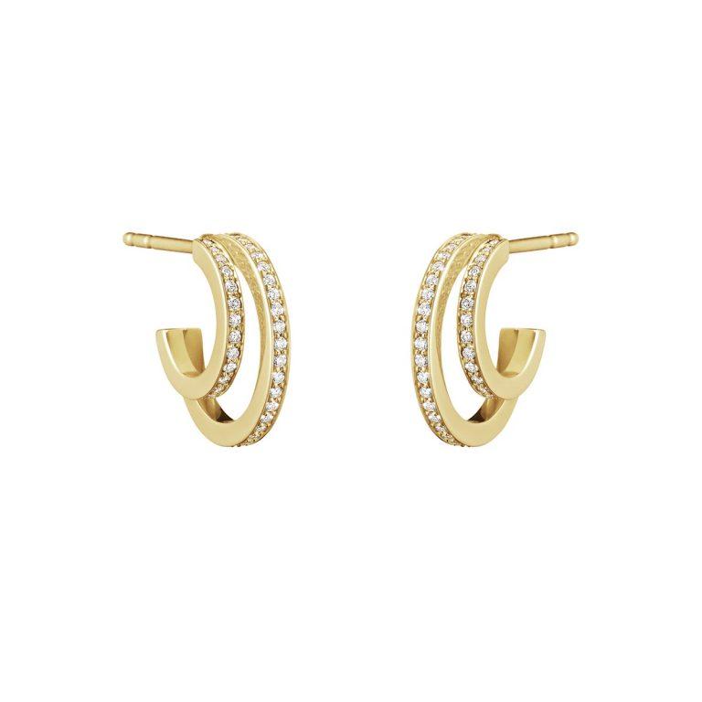 Georg Jensen Halo 18ct gold diamond set hoops