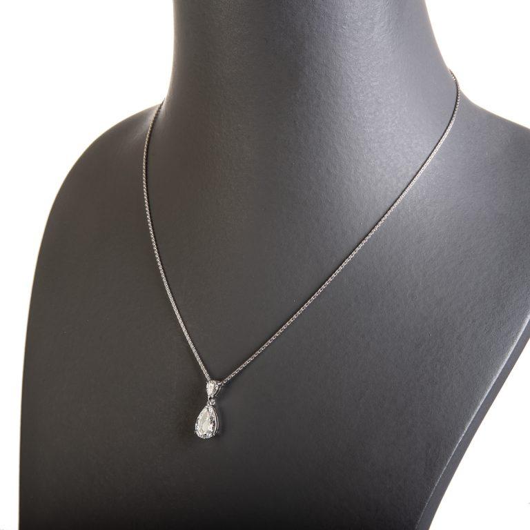 Platinum Double Pear Cut Diamond Pendant