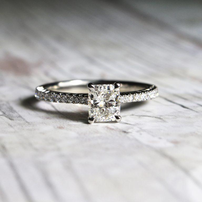 Cut Diamond Ring with Diamond Set Shoulders
