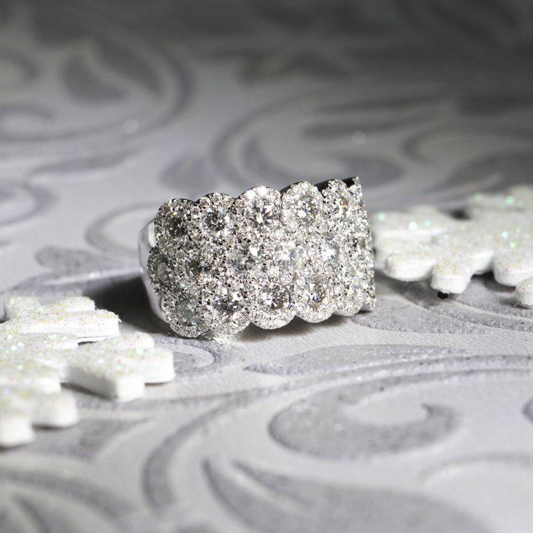 Three Row Halo Set Diamond White Gold Ring