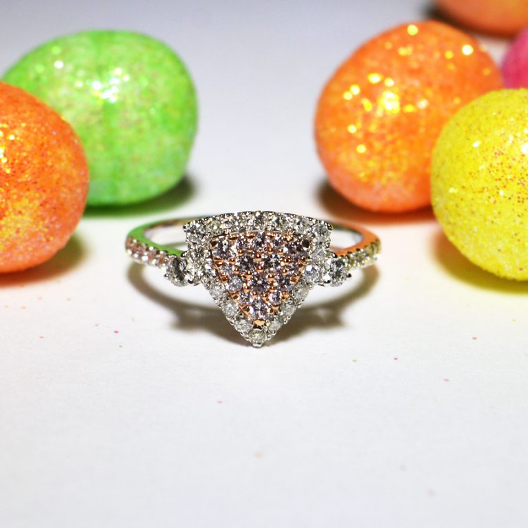 Pink and White Diamond Halo Cluster Ring