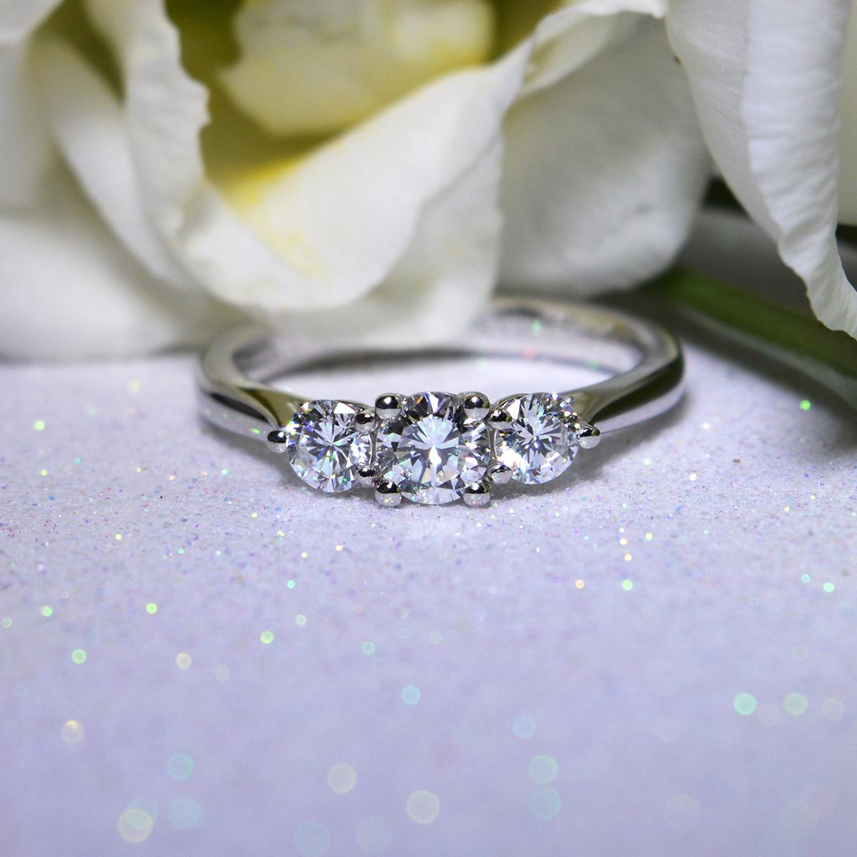 Brilliant Cut Diamond 3-Stone Engagement Ring