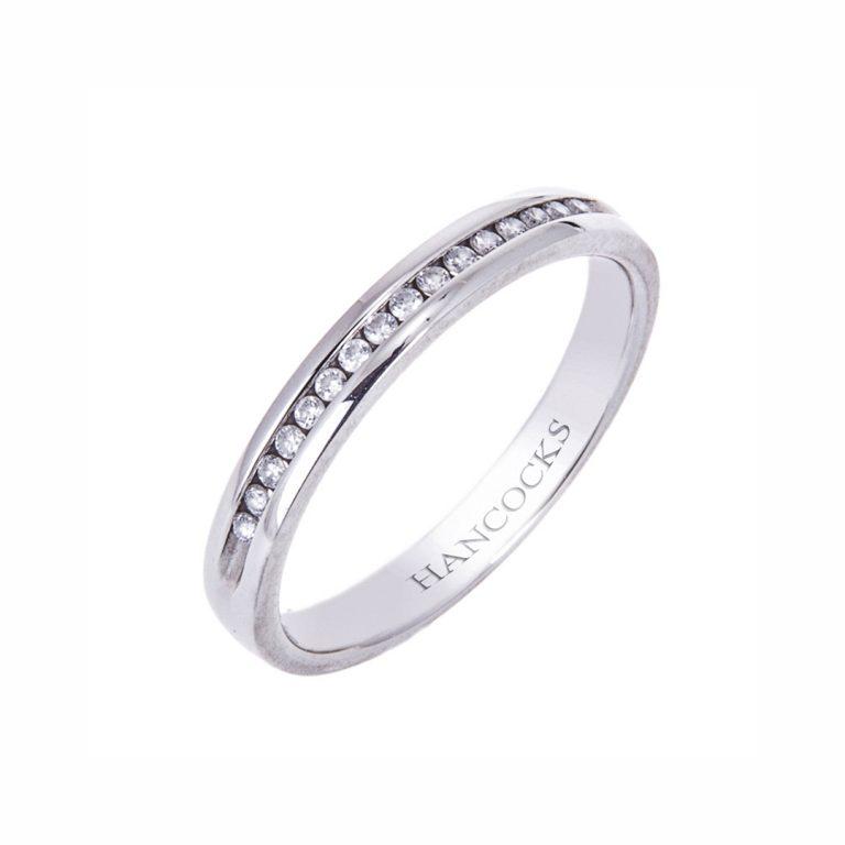 Platinum Channel set Diamond Ladies Wedding Ring
