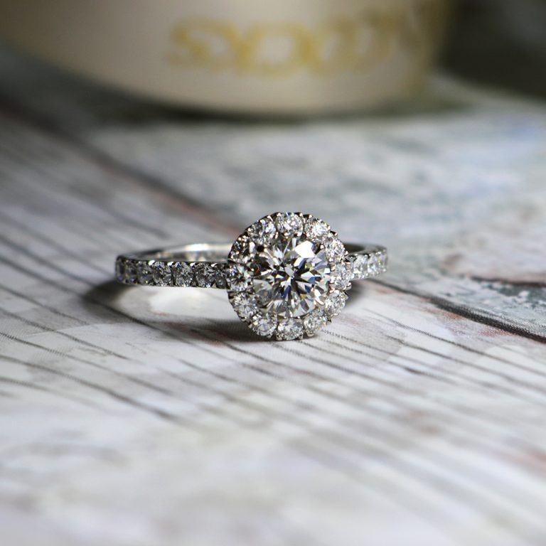 Brilliant Cut Diamond Cluster Ring with Halo Setting