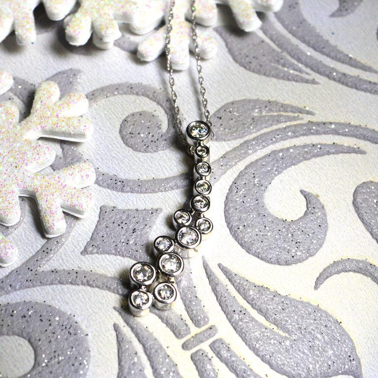 White Gold Diamond Cascade Pendant and Chain