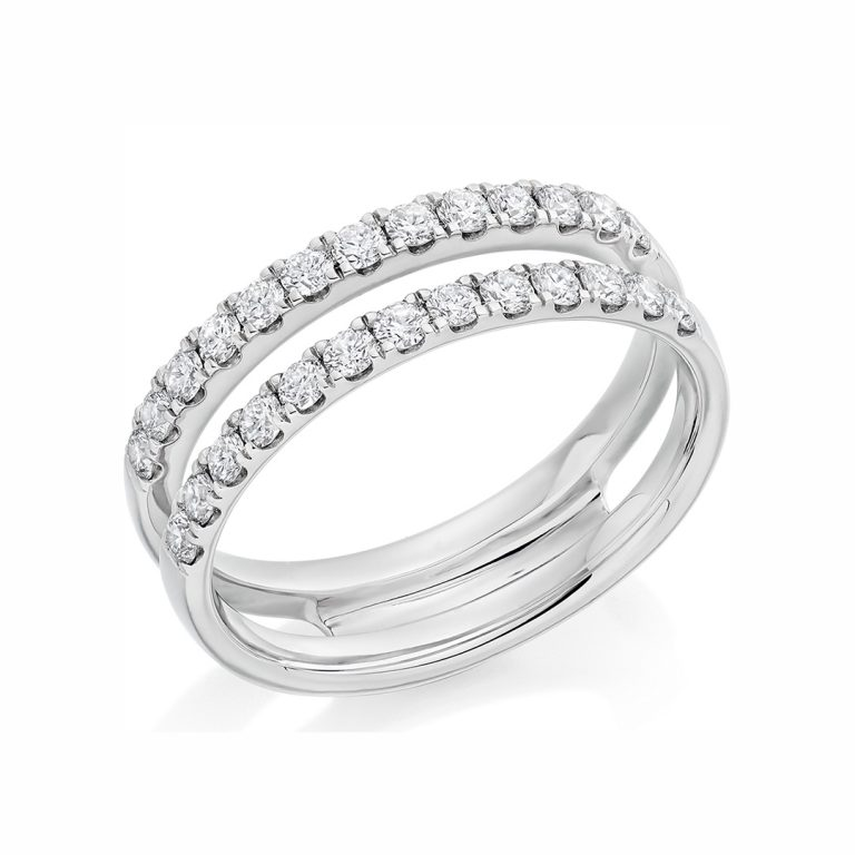 Double Row Diamond Set Wedding Band in Platinum